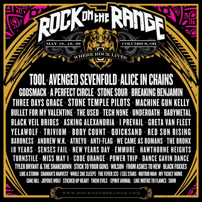 rock on the range 2018 Rock on the Range 2018 lineup: Tool, A Perfect Circle, Alice in Chains lead the way