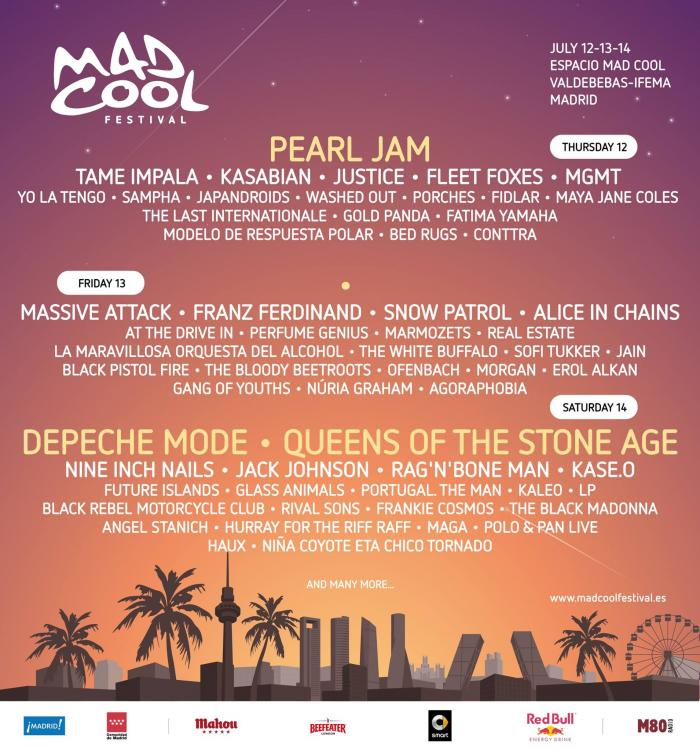 mad cool festival 2018 updated Mad Cool Festival adds to 2018 lineup with Tame Impala, Franz Ferdinand, Alice in Chains, and more