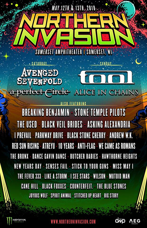 northern invasion Northern Invasion reveals 2018 lineup: Tool, A Perfect Circle, Alice in Chains among highlights