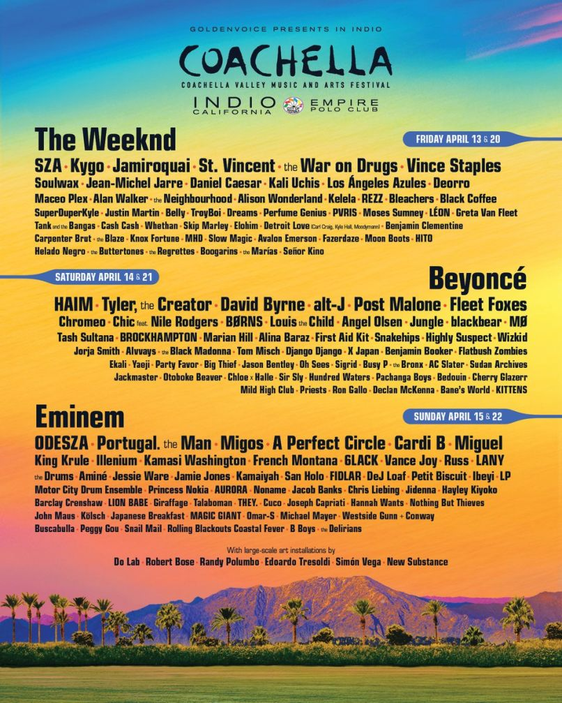 coachella 2018 Heres the Coachella 2018 lineup in all its glory
