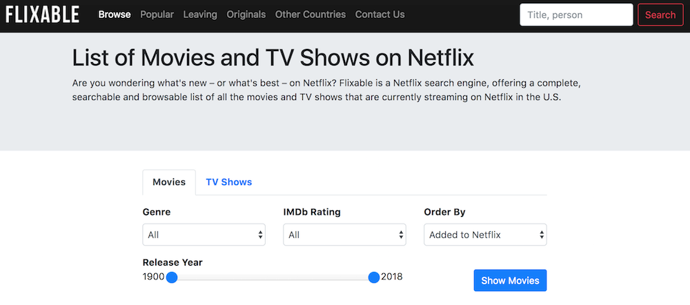 Some hero made a Netflix search engine to help you keep track of