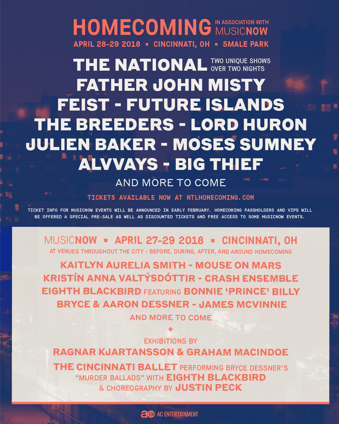 image1 The National reveal lineup for 2018 Homecoming Festival: Father John Misty, Feist, The Breeders