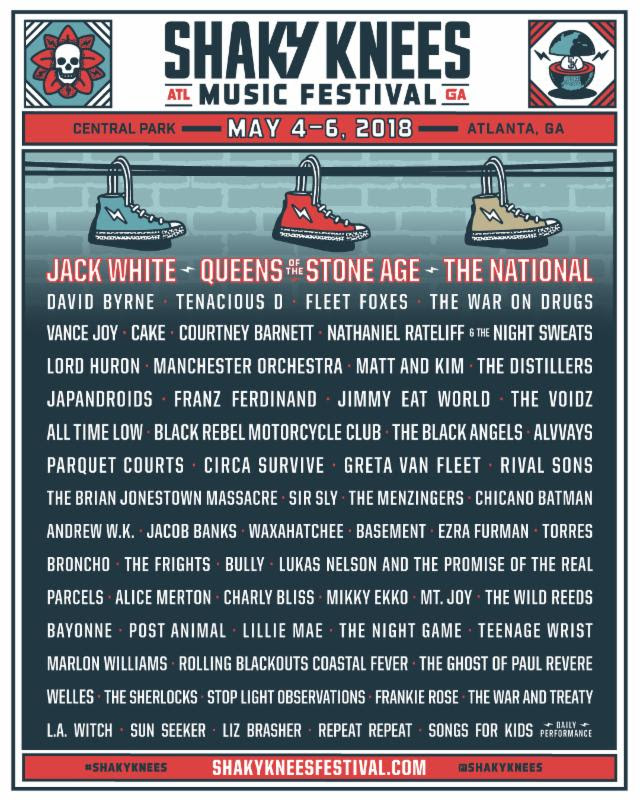 shaky knees 2018 Shaky Knees reveals 2018 lineup: Jack White, QOTSA, The National, and David Byrne