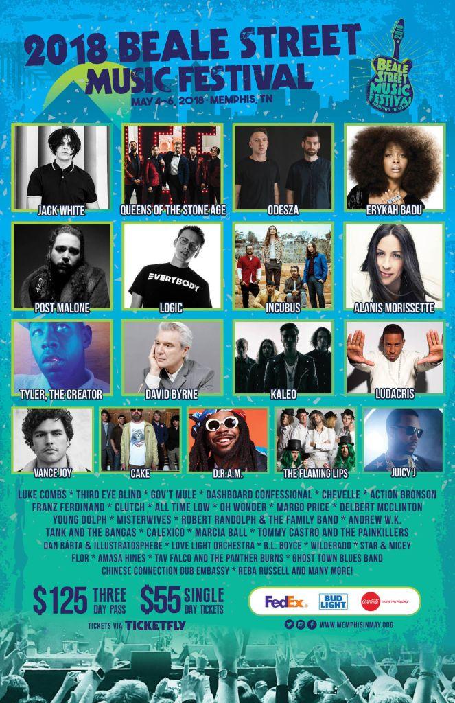 beale street 2018 Beale Street Music Festival reveals 2018 lineup: Jack White, QOTSA, Erykah Badu, and David Byrne