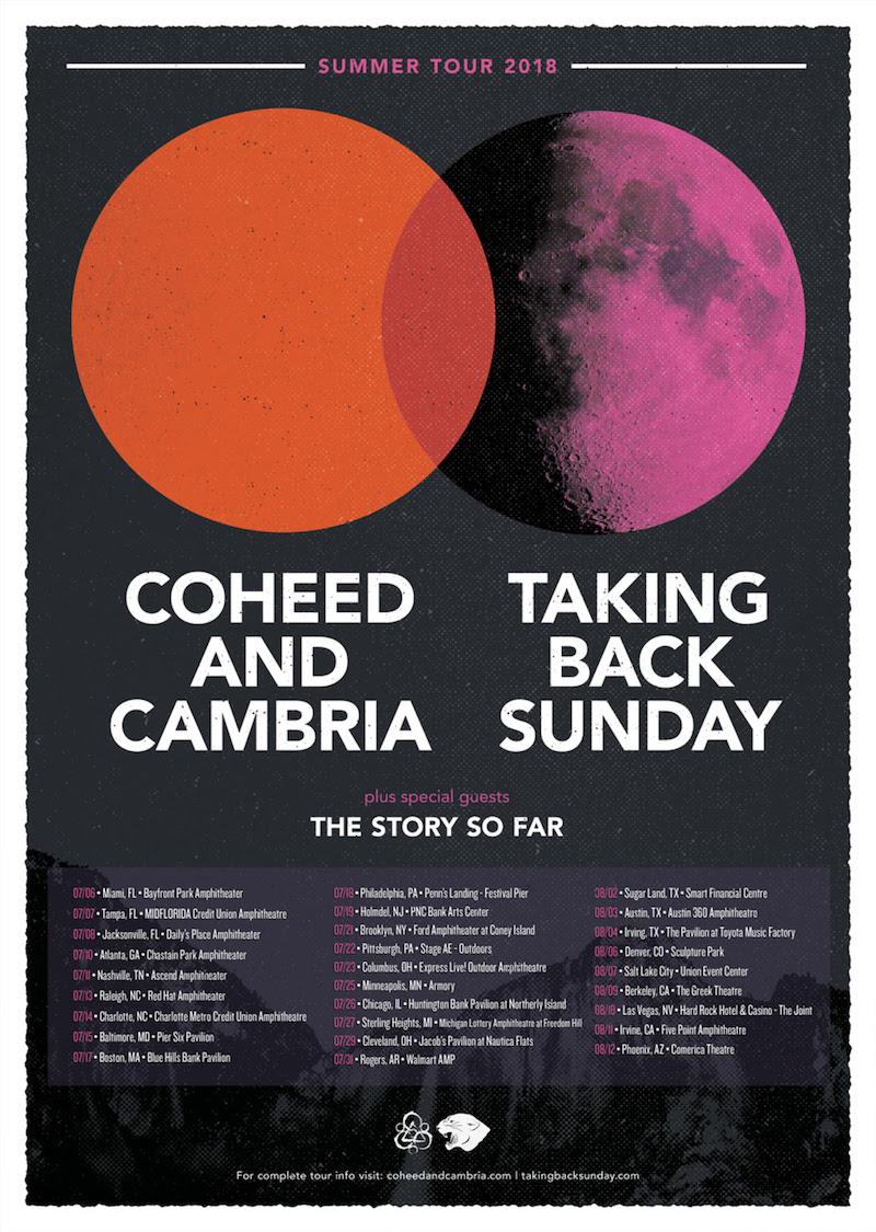 coheed cambria taking back sunday tour 2018 dates Coheed and Cambria and Taking Back Sunday announce US co headlining tour