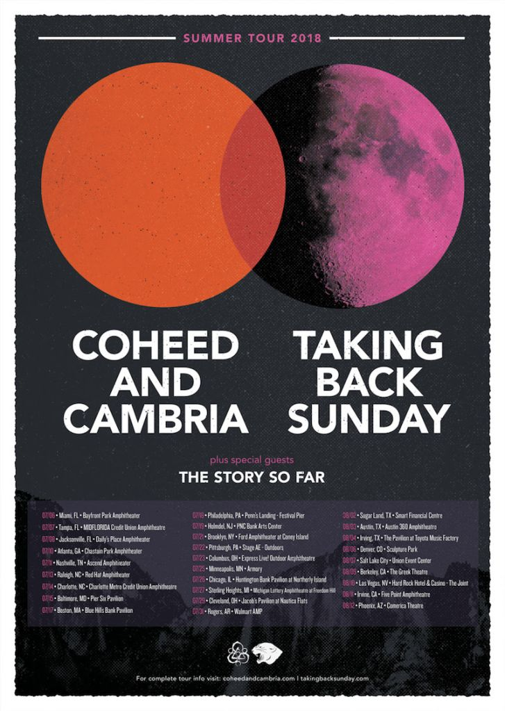 coheed cambria taking back sunday tour 2018 dates Coheed and Cambria and Taking Back Sunday announce US co headlining tour