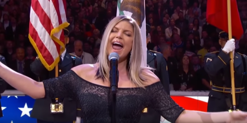 Fergie performs the National Anthem at the 2018 NBA All-Star Game