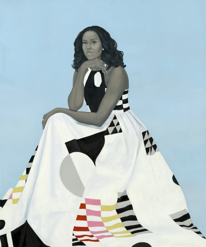 michelle obama potrait Barack Obama unveils presidential portrait painted by Kehinde Wiley