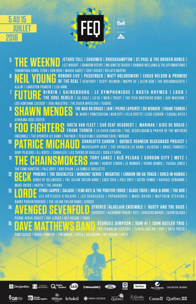 feq2018 affiche 11x17 vf 1 Quebec City Summer Fest 2018 lineup: Foo Fighters, Lorde, Neil Young, and Beck