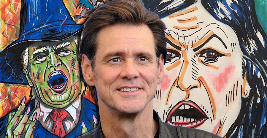 Jim Carrey's Sarah Sanders and Donald Trump portraits