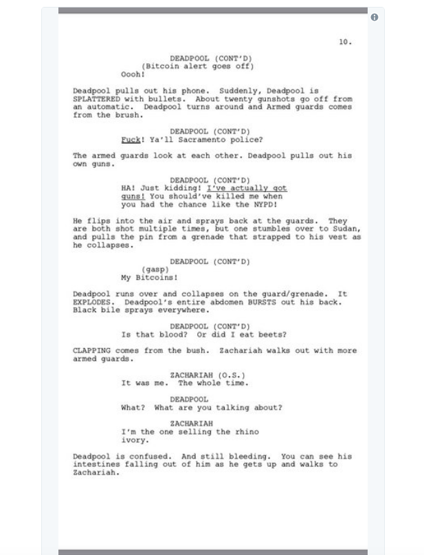 screen shot 2018 03 28 at 10 02 05 am Donald Glover shares script for finale to canceled Deadpool animated TV series