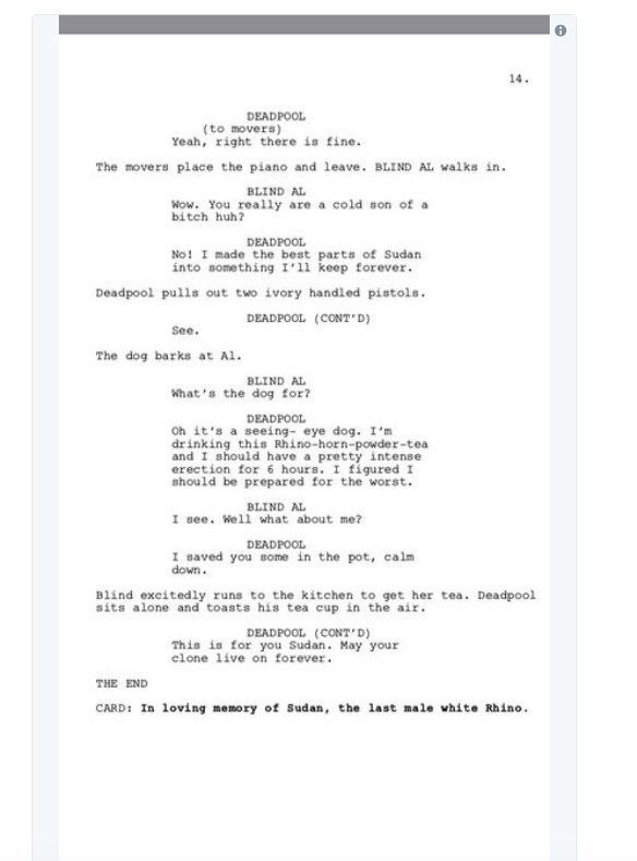 screen shot 2018 03 28 at 10 04 19 am Donald Glover shares script for finale to canceled Deadpool animated TV series