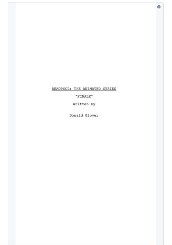 screen shot 2018 03 28 at 9 53 38 am Donald Glover shares script for finale to canceled Deadpool animated TV series