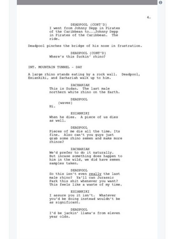 screen shot 2018 03 28 at 9 54 06 am Donald Glover shares script for finale to canceled Deadpool animated TV series