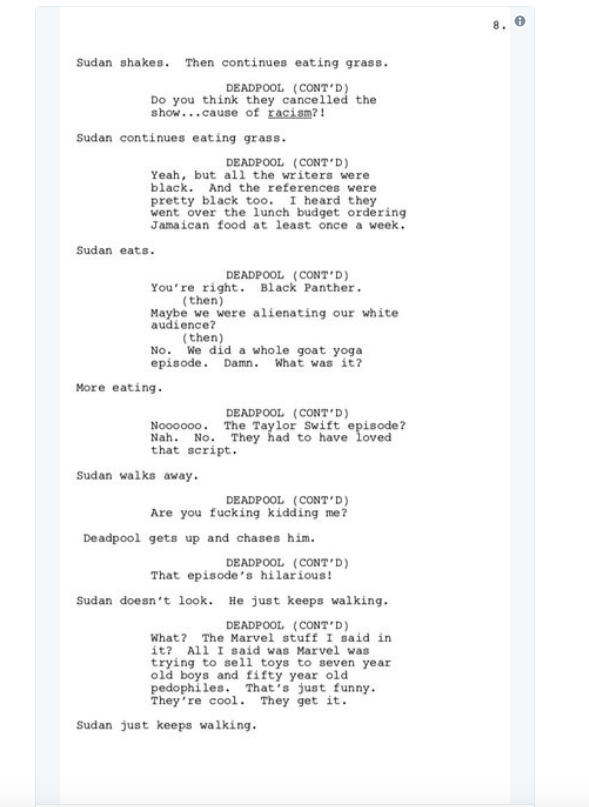 screen shot 2018 03 28 at 9 56 27 am Donald Glover shares script for finale to canceled Deadpool animated TV series