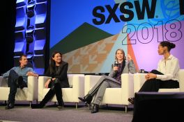 Jonathan Nolan, Lisa Joy, Evan Rachel Wood, and Thandie Newton // Westworld, photo by Heather Kaplan