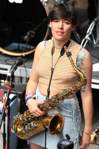 Speedy Ortiz // FLOODfest at Cedar Street Courtyard, photo by Heather Kaplan
