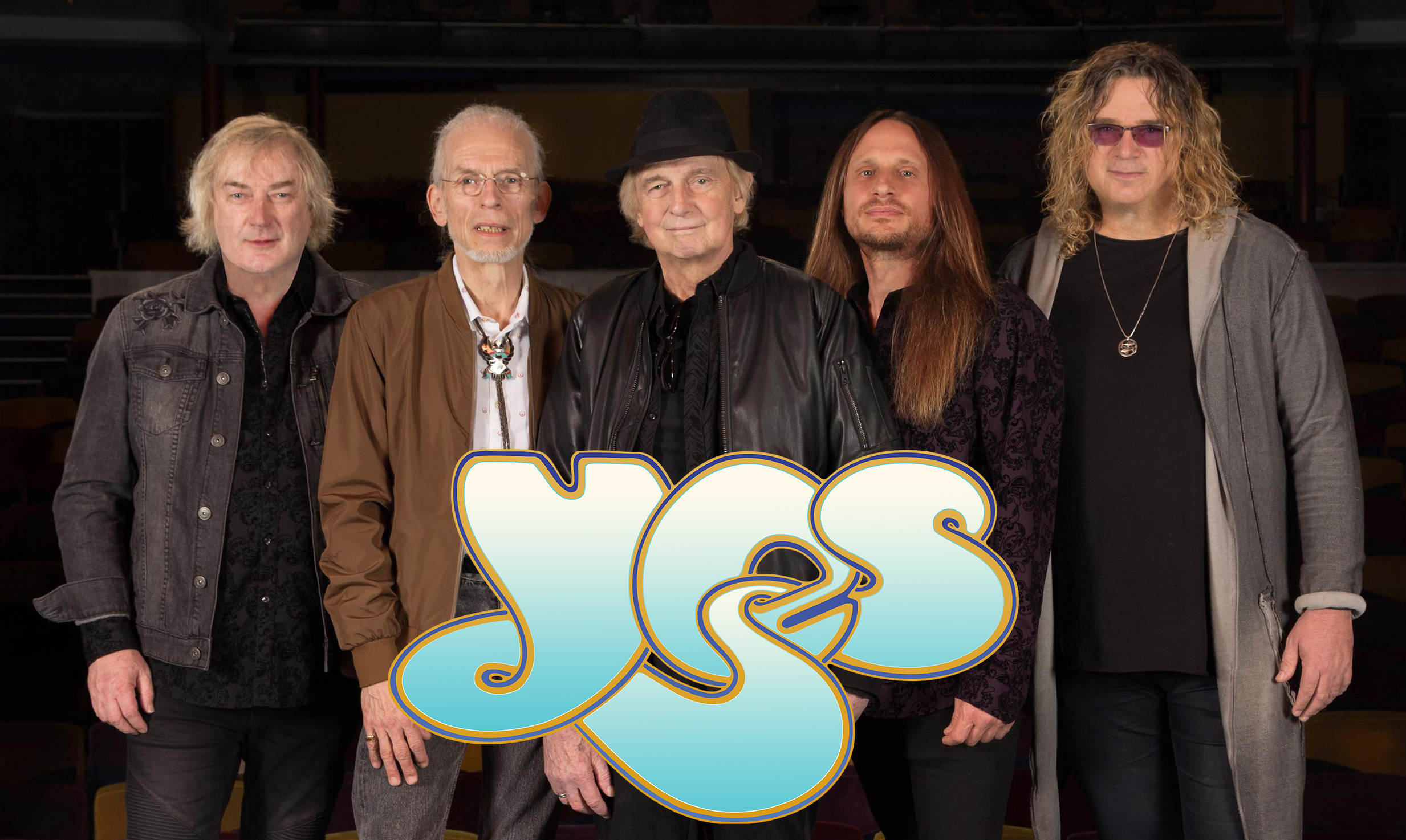 Yes featuring Geoff Downes, Steve Howe, Alan White, Jon Davison, Billy Sherwood, photo by Glenn Gottlieb