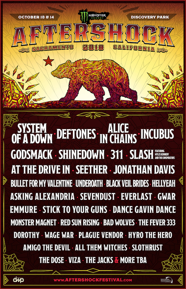 aftershock 2018 lineup Aftershock Festival reveals 2018 lineup: System of a Down and Deftones to headline