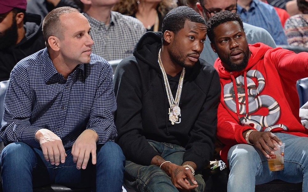 76ers co-owner Michael G. Rubin, Meek Mill, and Kevin Hart