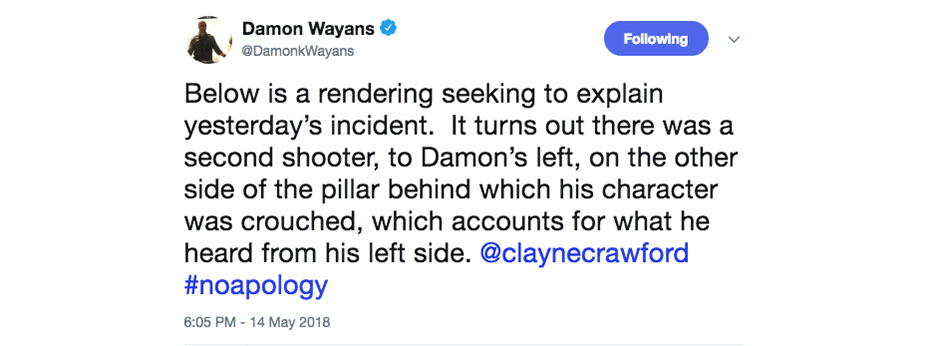 damon wayans tweet 3 embed Damon Wayans posts graphic video of incident that led to Clayne Crawfords firing from Lethal Weapon