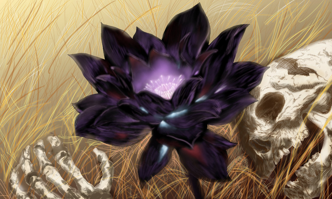 Dark Black Lotus Flower Skeleton Death Drawing