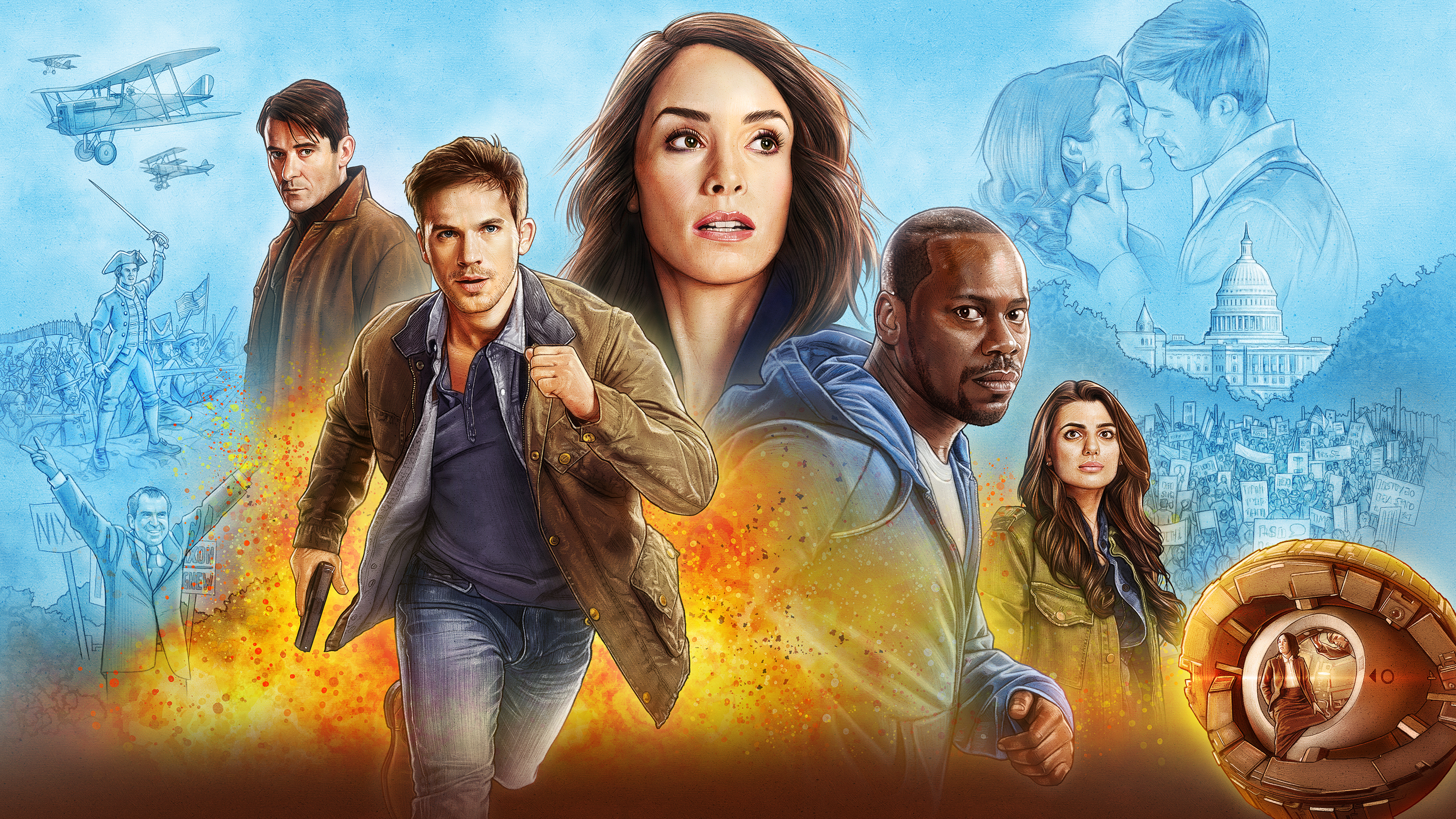 timeless nbc tv party clockblockers abigail spencer malcolm barrett matt lanter claudia doumit sakina jaffrey paterson joseph goran visnjic annie wersching
