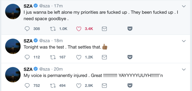 SZA tweets loses voice