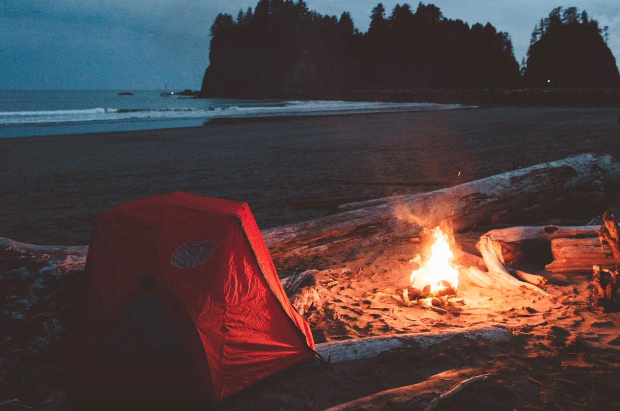 Beach camping night