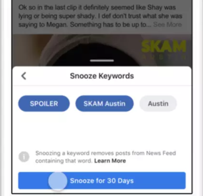 Facebook keyword block