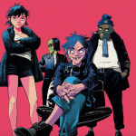 Gorillaz The Now Now Stream Pink Background new abum
