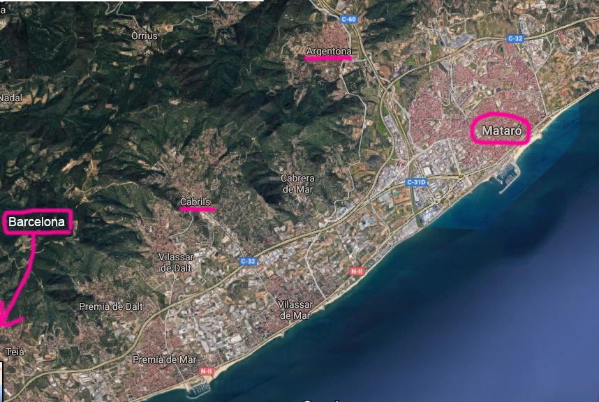 Mataró Maresme Cabrils Argentona map