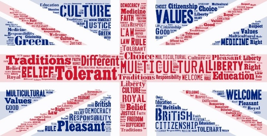 modern british united kingdom values flag word map multicultural values