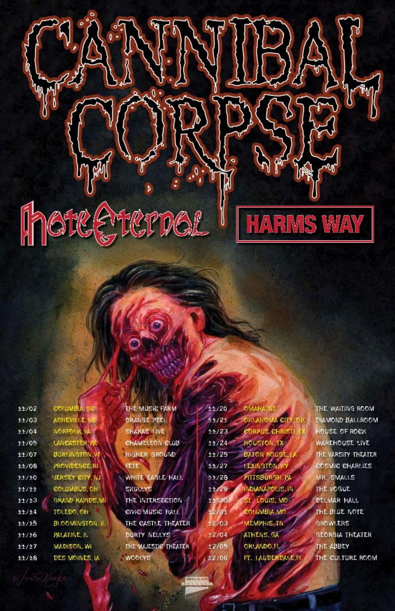Cannibal Corpse fall tour poster