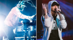 Justin Vernon (photo by Philip Cosores) and Eminem (Photo by Natalie Somekh) Fall Kamikaze
