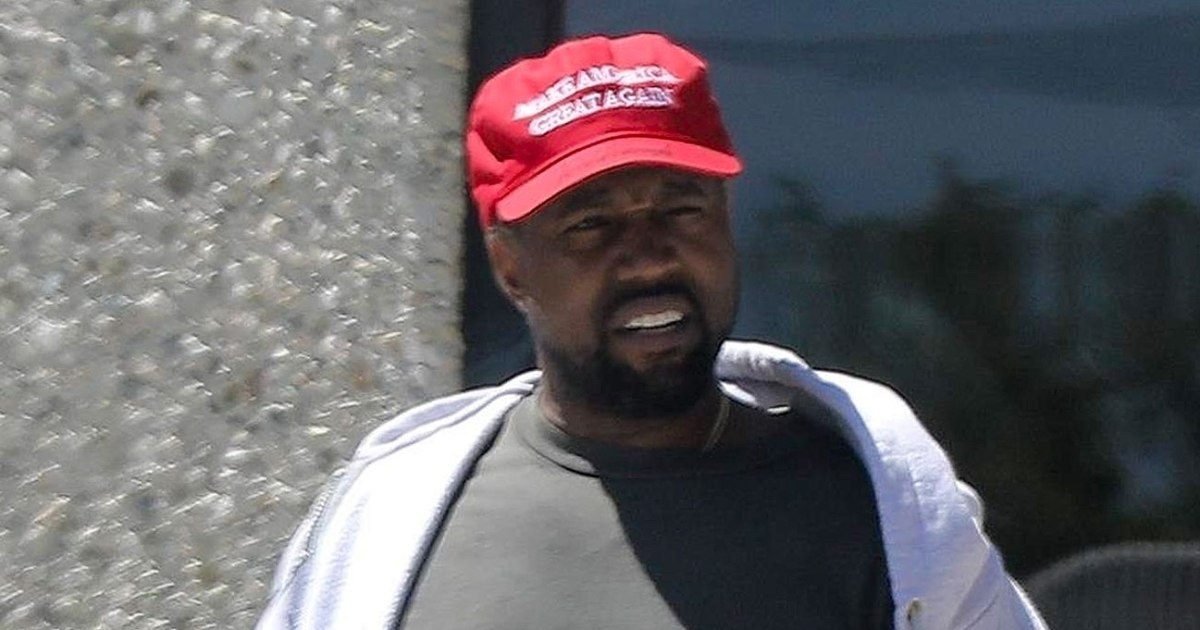 Kanye West in a MAGA hat