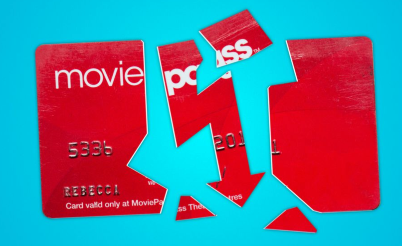 Moviepass price drop three movies per month stock drop broken