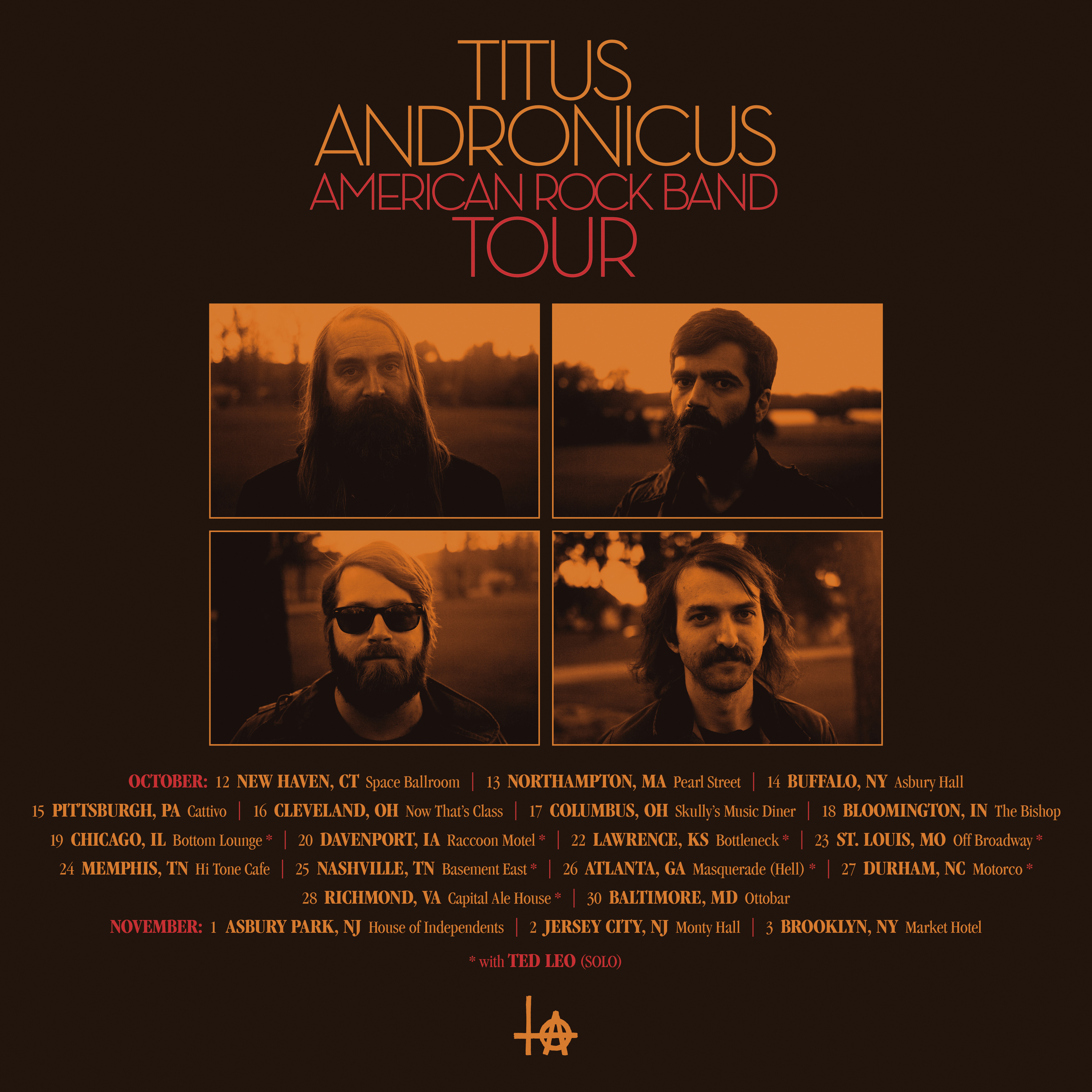 Titus Andronicus American Rock Band Tour Schedule Poster
