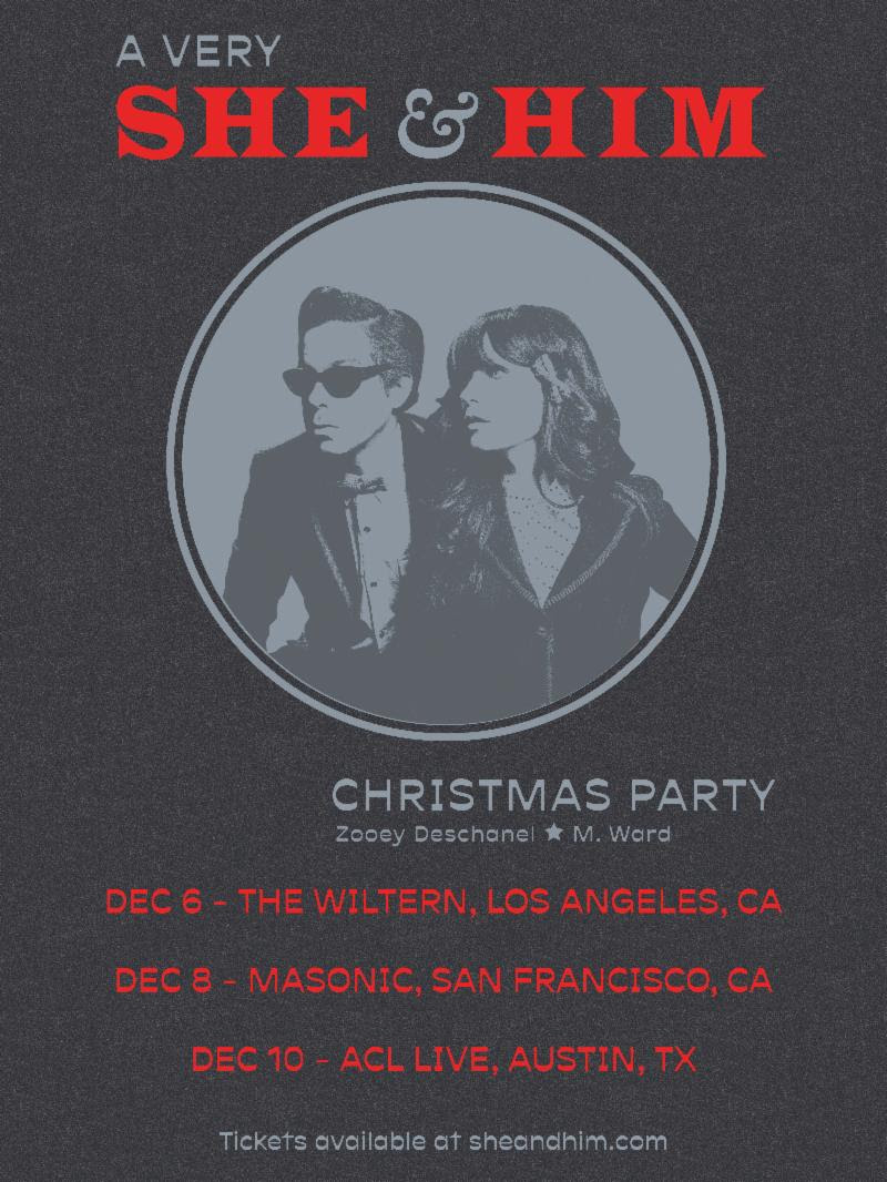 A Very She & Him Christmas Concert Tour Dates Poster