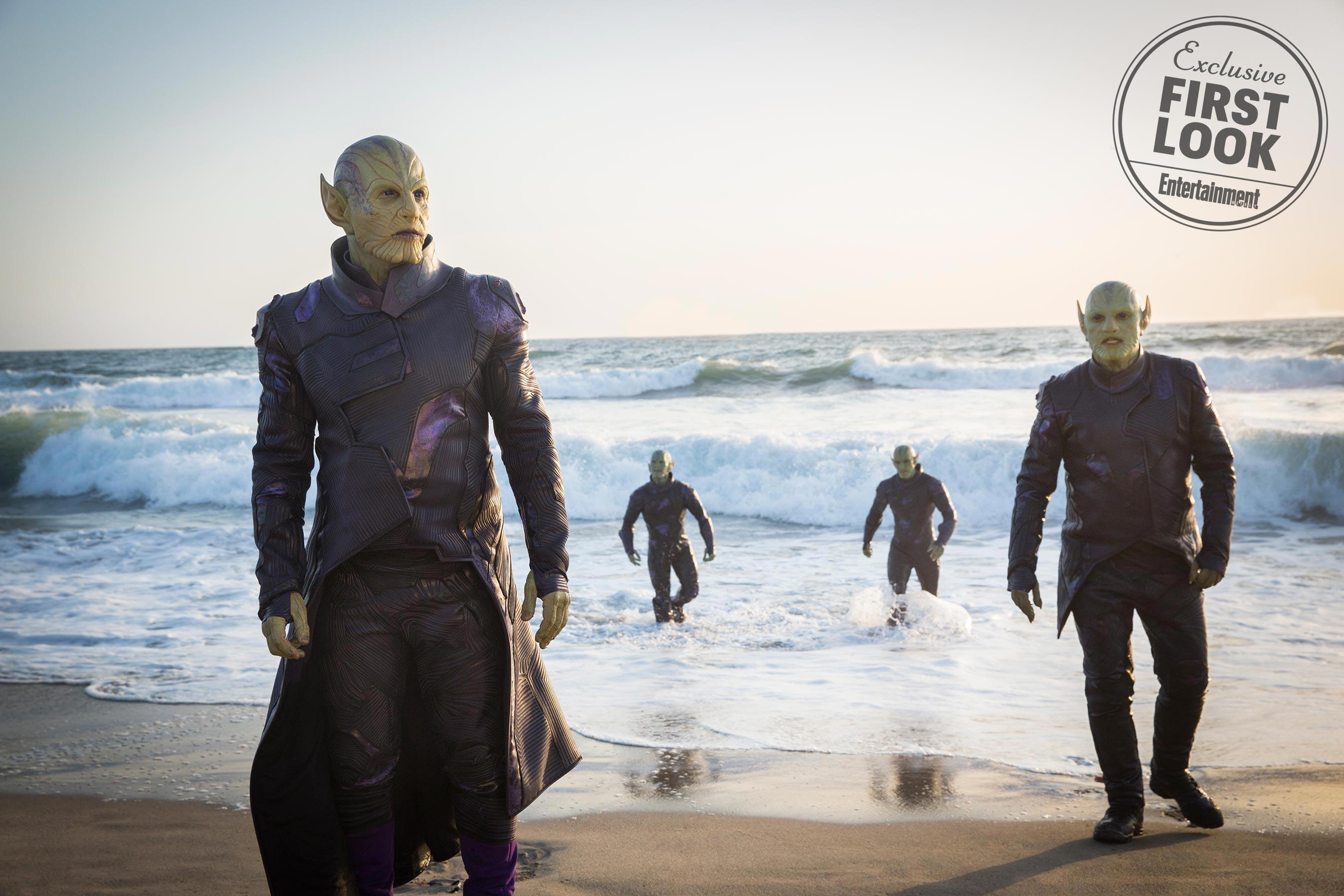 Talos (Ben Mendelsohn) and the Skrulls marvel studios captain marvel
