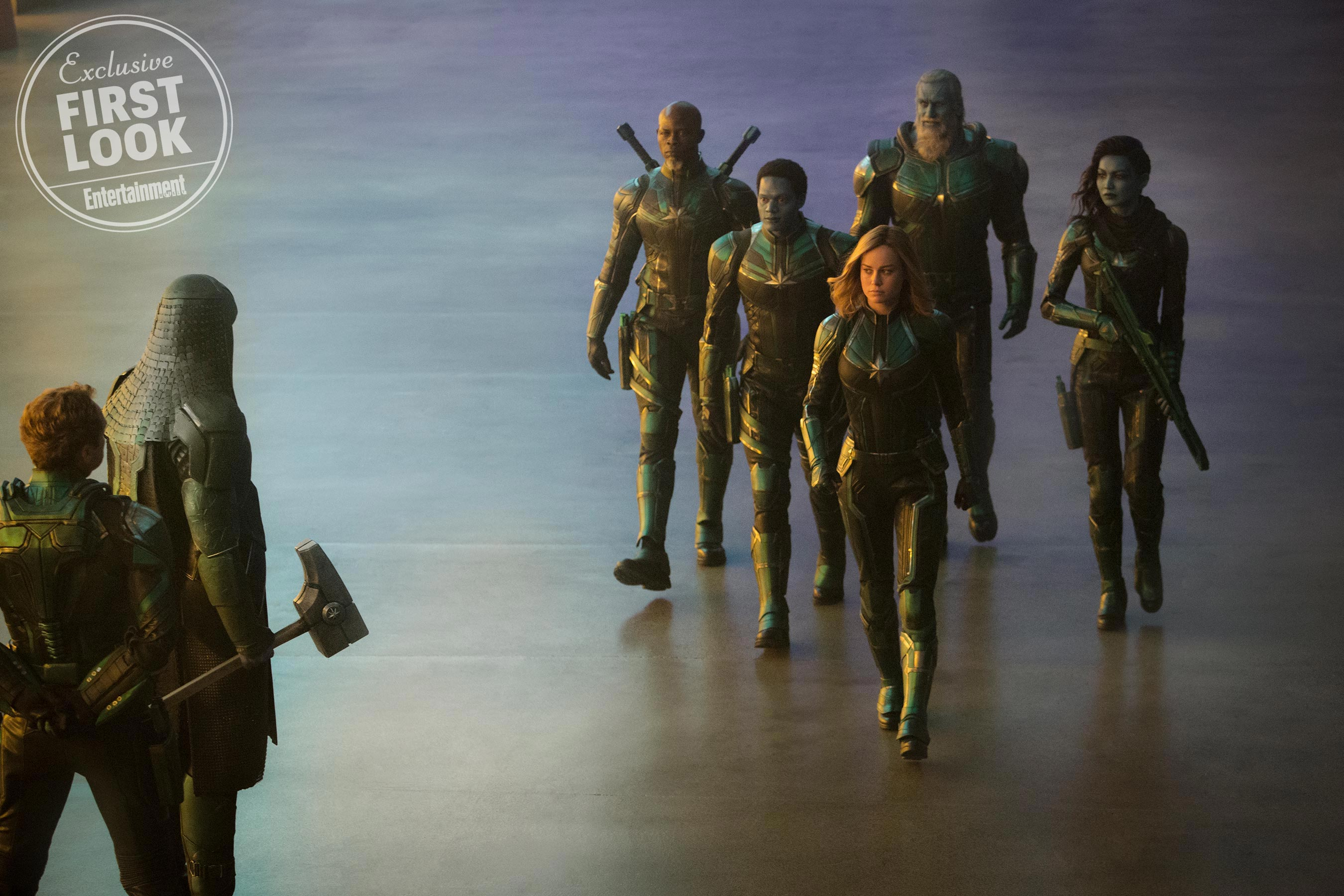 Captain Marvel Starforce (Jude Law), Ronan (Lee Pace), Korath (Djimon Hounsou), Att-Lass (Algenis Perez Soto), Carol Danvers/Captain Marvel (Brie Larson), Bron-Char (Rune Temte) and Minn-Erva (Gemma Chan)
