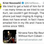 Krist Novoselic's tweet about Kurt Cobain