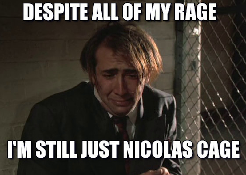 screen shot 2018 09 17 at 9 46 11 pm Nicolas Cage thinks the Cage Rage memes are a disservice to his new film