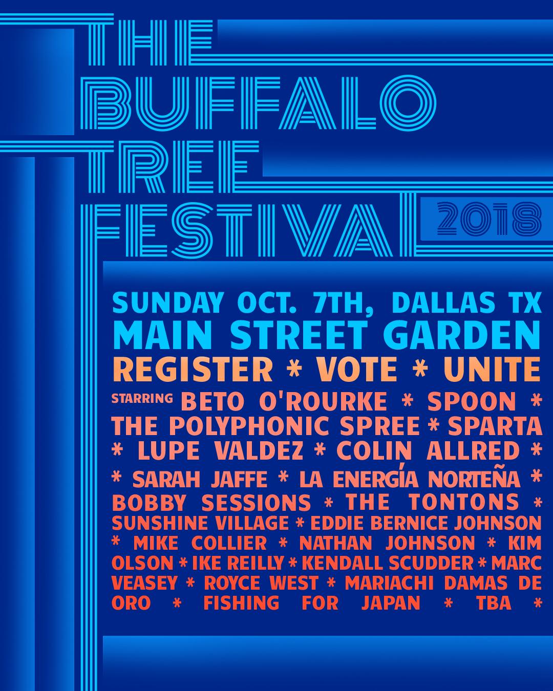 The Bufallo Tree Festival Texas Music Politics Lineup poster
