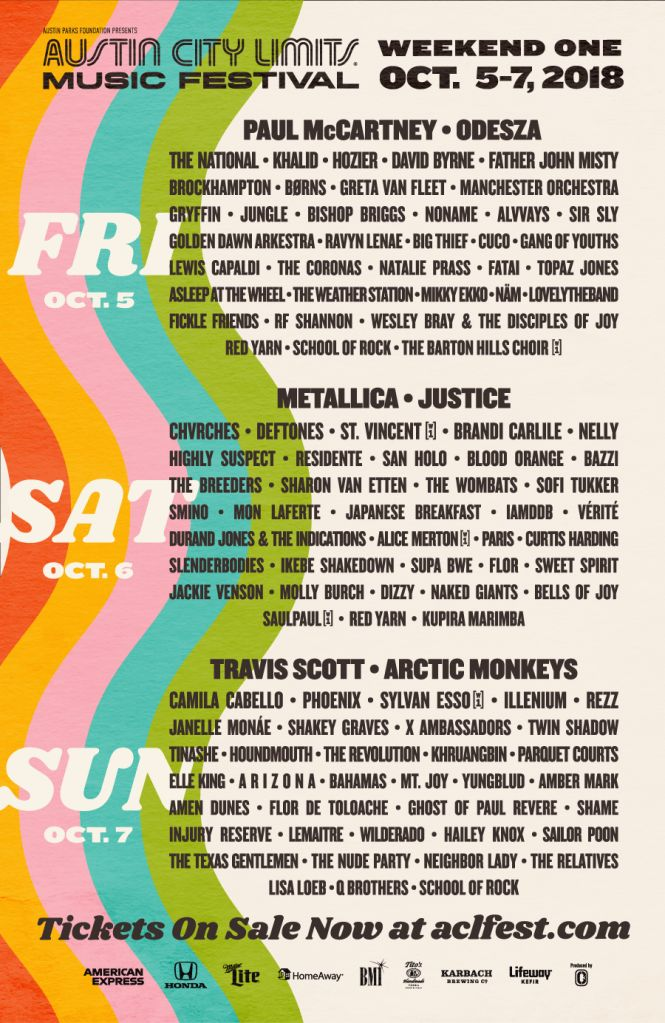 Austin City Limits Music Festival Poster 2018
