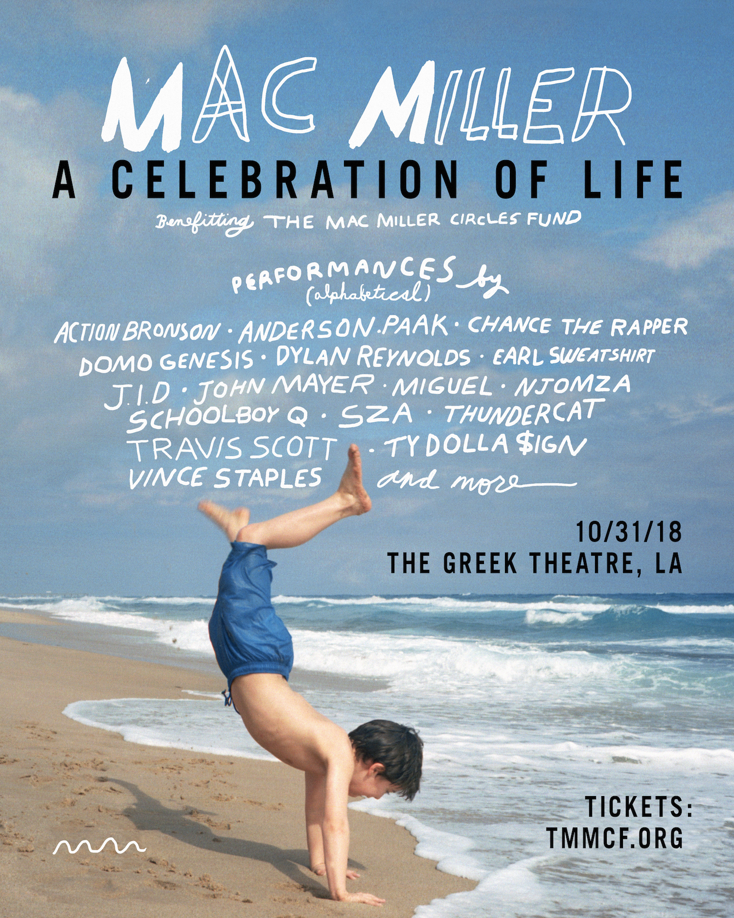 Mac MIller A Celebration of Life Benefit Concert Lineup Poster