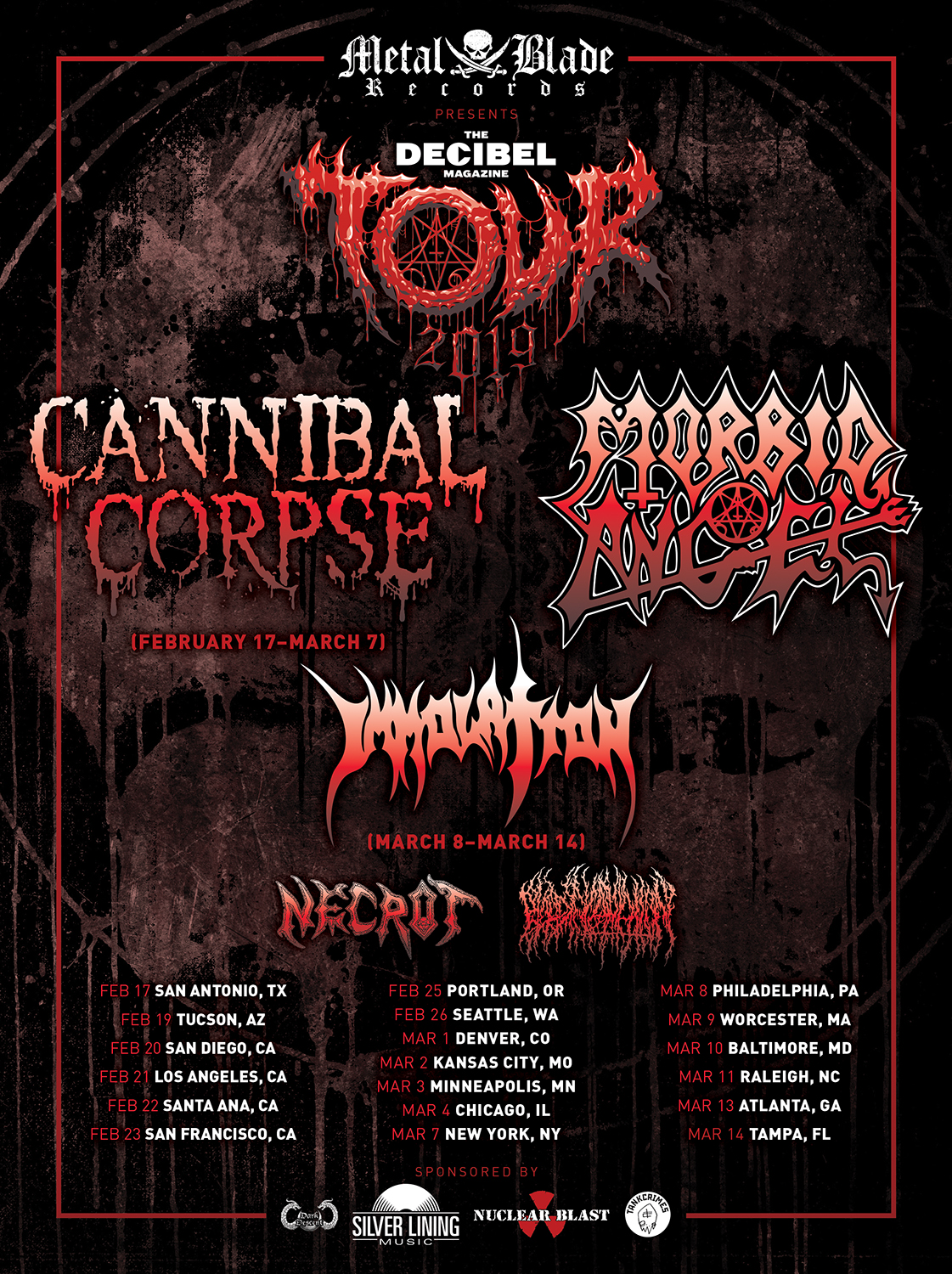 decibel tour 2019 poster Cannibal Corpse and Morbid Angel lead 2019 Decibel Magazine Tour lineup
