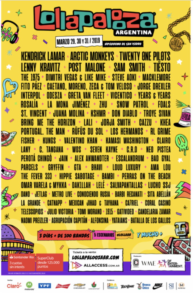 Lollapalooza Argentina 2019 lineup