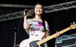 "Mitski performs solo a capellaversion of ""Nobody for SiriusXM, photo by Philip Cosores"