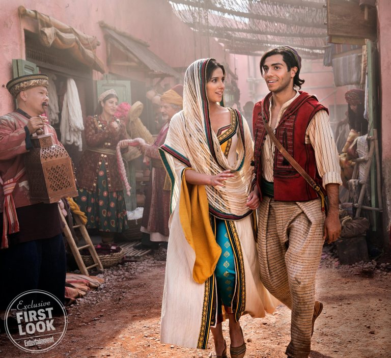Naomi Scott as Jasmine and Mena Massoud as Aladdin
